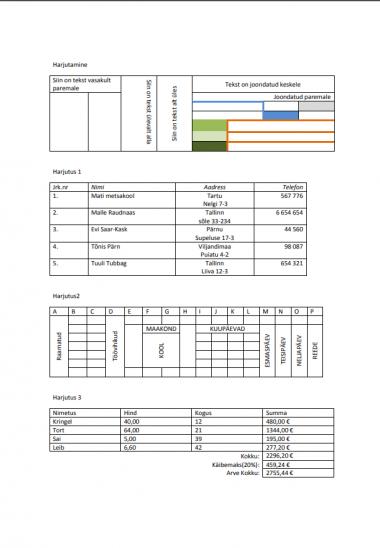 aitan teha arvutis tabeleid näiteks programmis MS Excel või Google´i arvutsutabelid